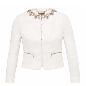 Ted Baker White Hamli Embellished Crop Jacket